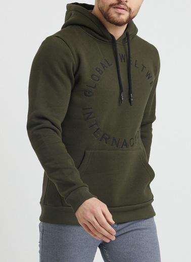 XHAN Pudra Baskılı Sweatshirt 1Kxe8-44365-50 Haki